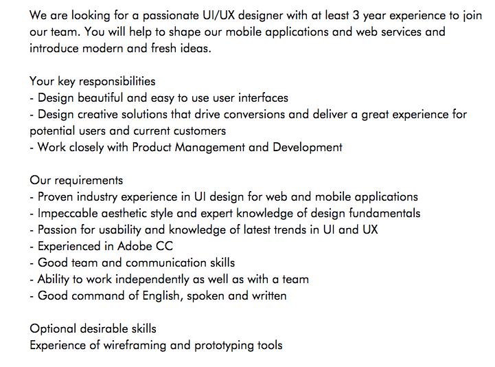 ux cover letter example job description